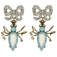 Betsey Johnson Vintage Critters Blue Beetle Bow Drop Earrings