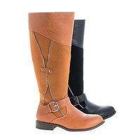 Oksana106 Tan Pu Knee High Round Toe Zipper Faux Wooden Heel Riding Boots