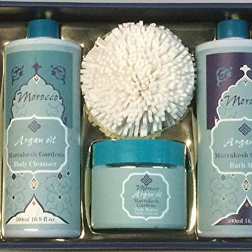 Morroco Marrakesh Gardens Argan Oil Bath Gift Set - Body Cleanser, Body Butter, Bath Milk, Body Puff