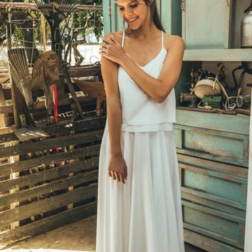 Two piece wedding dress / Two piece bridal gown / Simple country wedding dress / Simple boho wedding dress / hibiscus calla white