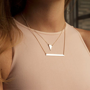 Set of 2 layering necklaces, Tiny Triangle Necklace, Personalized Bar Necklace, gold filled layered necklaces