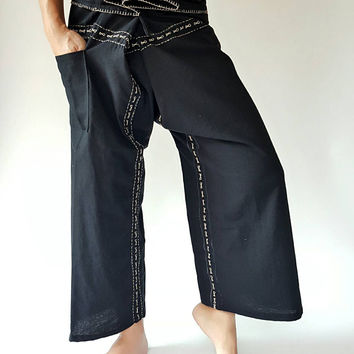 F80009 Hand Sewing Inseam design for Thai Fisherman Pants Wide Leg pants, Wrap pants, Unisex pants