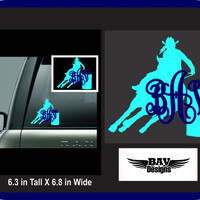 Custom Rodeo Decal, monogram barrel racer decal, Yeti Barrel Racer Decal