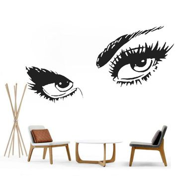 Vinyl Wall Decal Womens Eyes Silhouette Sexy Teens Face Art Decor Diy Removable Home Sticker Bedroom Home Decor L117