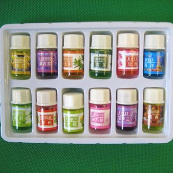 12 bottles 3ML SPA plant essential oils with aromatic aromatherapy oil household
