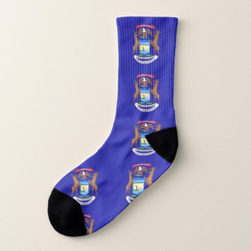 All Over Print Socks with Flag of Michigan