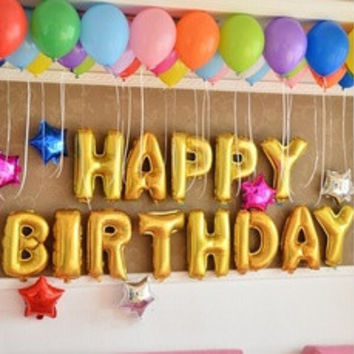 13pcs Cute Silver/Gold Alphabet Letters''happy birthday'' Helium Balloons Foil Balloon Birthday  party Decoration Ballon [8400929287]