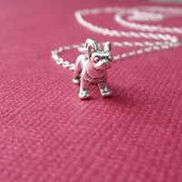 bitty boston terrier necklace sterling silver gift for her