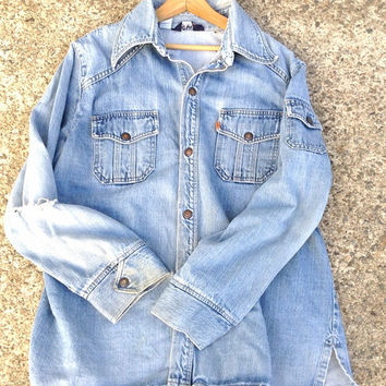Levi Vintage Denim Shirt - Denim Shirt sz XL- Levi Distressed Blue Jean Shirt - Levi vintage Shirt - 60's Levi Denim Shirt - Vintage Shirt