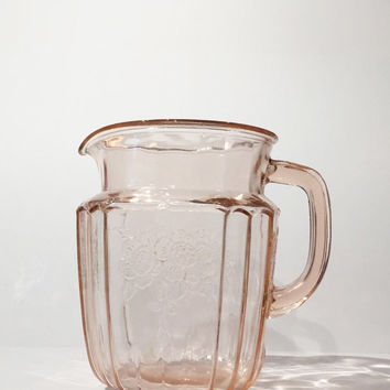Pink Mayfair Open Rose Pitcher, Hocking Pink Depression Glass Pitcher, Mayfair Open Rose Pink Depression Glass Pitcher, Pink Mayfair Pitcher