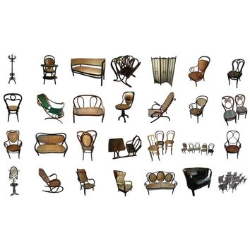 Thonet Museum Collection 83 items All Stamped and or Labeled 1858-1904