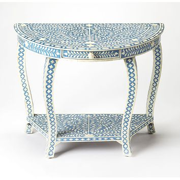 Blue Bone Inlay Demuline Console Table by Butler Specialty 3881319