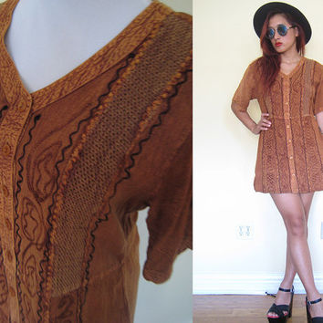 Vintage 90's faded brown embroidered india indian hippie boho bohemian babydoll mini dress button down ethnic native tribal