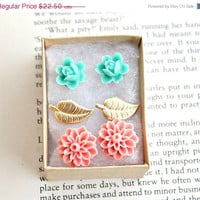 ON SALE 3 sweet post earrings gift set flowers by GypsyAffairs