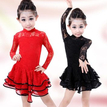 Children's Long Sleeve Lace Latin Gymnastics Dance Girls Dress Ballet Tutu Leotard Skate Dresses Outfits Dancewear Costumes
