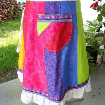 Rainbow Hippie Patchwork Mid Length Skirt Short Skirt Festival skirt, Maxi skirt Mid Length Skirt  Knee Length Skirt up to plus size
