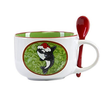 SeaWorld Holiday Latte Mug with Spoon New