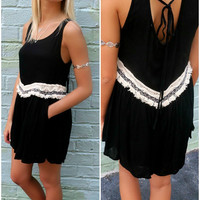 River North Open Back Fringe Black Romper
