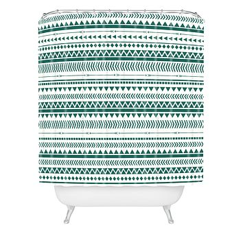 Allyson Johnson Teal Aztec Shower Curtain