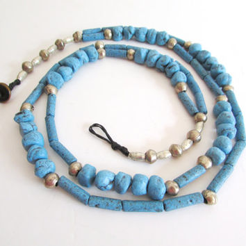 Blue Long Necklace with Clay Moroccan Beads, Beadwork Ethnic Urban Natural Jewelry