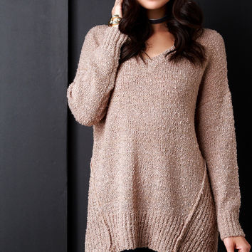 Textured Knit Side Slit Boxy Sweater