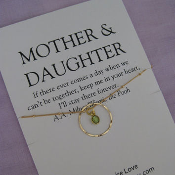 Mother Daughter Peridot necklace. 50th BIRTHDAY Gift. GOLD Eternity Circle Birthday gift for Mom,  40th Birthday Gift for Her.