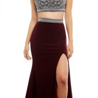 Beaded Two-Piece Prom Dress by Mac Duggal