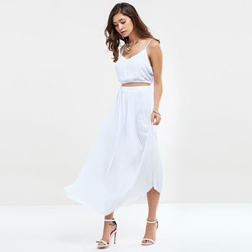 Sexy Spaghetti Strap Pleated Pure Color Two Piece Dress for Women