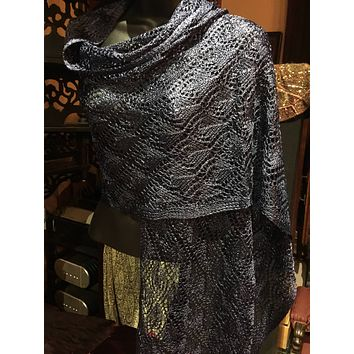 Vitage Styled Sheer navy blue lace crochet  Shawl wrap