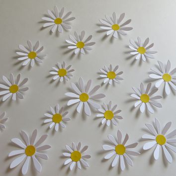 "Cute Daisy Stickers, 18 Handmade Paper Flower Wall Decals 2-3"" Daisies to Decorate With"