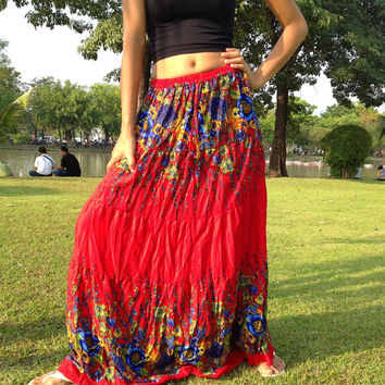 Long Gypsy Floral Skirt -Boho- Summer Weight - Elasticated Smocked Waist -Red