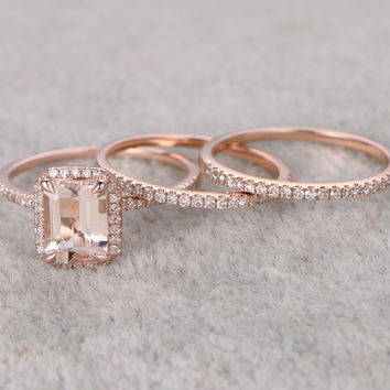 1.2 Carat Emerald Cut Morganite Wedding Set Diamond Bridal Ring 14k Rose Gold Thin Eternity Band Half Eternity