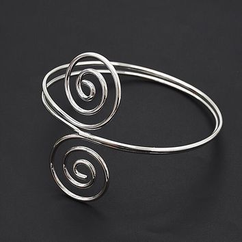 Retro Trend Silver Gold Metal Armlet Adjustable Double Open End Spiral Pattern Cuff Bangle