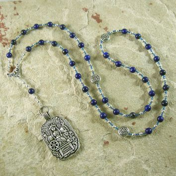 Frigga Prayer Bead Necklace in Lapis Lazuli: Norse Goddess of Wisdom, Weaving, Good Management
