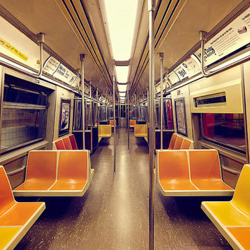 NYC Photography NYC Subway Red Yellow Purple New York City Wall Art Vintage Retro Train Photograph Subway Art Railroad Car Fine Art Print