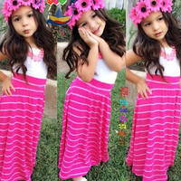 Newest Kid Children Girls Striped Sleeveless Vest Dress = 1958398212
