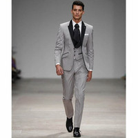 Men's Light Grey Black Lapel Tuxedos Suit