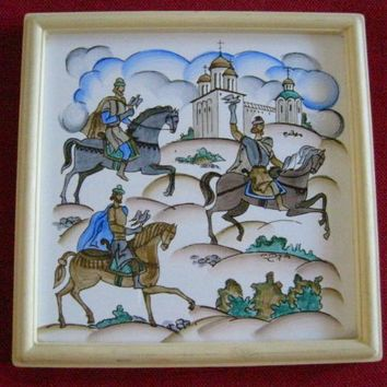 Russian Equestrian Framed Hand Painted Porcelain Tile Medieval Style