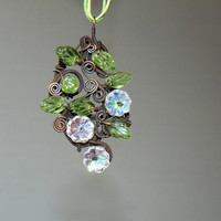 Fairy necklace garden botanical antiqued copper pendant handmade jewelry