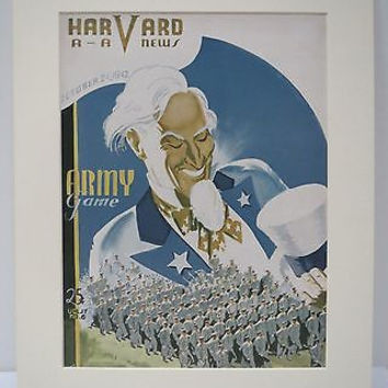 Uncle Sam Coca Cola Lithograph Print 1942 Harvard AA News Magazine Army Game