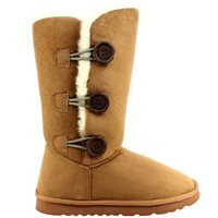 Womens Triplet Button Tall Classic Fur Winter Rain Snow Boots - Tan - 10 - 41 - AEA0104