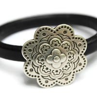 Flower Bracelet Flower Bangle Leather Flower Bracelet Black Bangle Flower Jewelry Magnetic Flower Clasp Gift Ideas PepperPotLeatherShop PPP