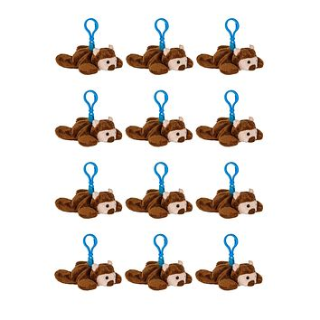 Bulk 12 Pack Bear Stuffed Animal, Backpack Clip Toy Keychain, 4 Inch Plush Kids Party Favors