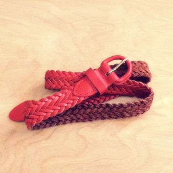 Vintage Red Leather Braided Belt