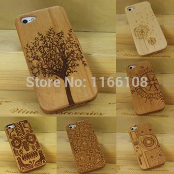 Case For iPhone 5S 5 iPhone SE 100% Natural Green Real Wood Wooden Bamboo Carving Hard Back Case Cover Phone Shell Skin Bag