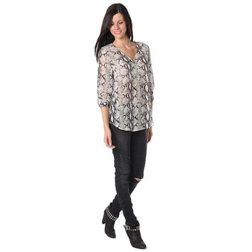 Black animal print blouse with zip trim to front