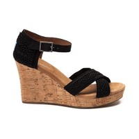 Womens TOMS Strappy Crochet Wedge