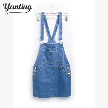 New Women Girls Casual Vintage Wash Denim Overall Suspender Jean circle skirts