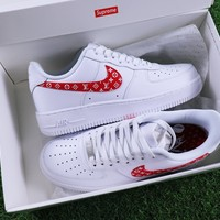 Sale Supreme x LV x Nike Air Force 1 White Red Sport Shoes Sneaker