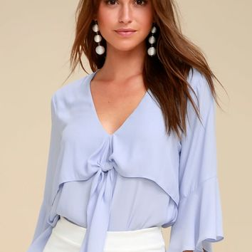 Elmira Light Blue Tie-Front Flounce Sleeve Top